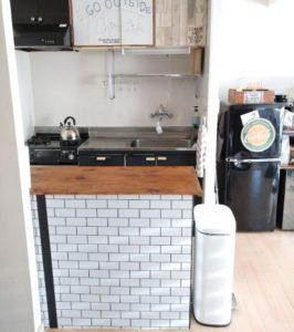キッチンカウンター DIY タイル 壁紙